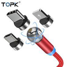 TOPK AM28 câble magnétique Micro USB câble 360 degrés rotation magnétique Charge téléphone cordon de Charge fil pour Xiaomi pour Samsung