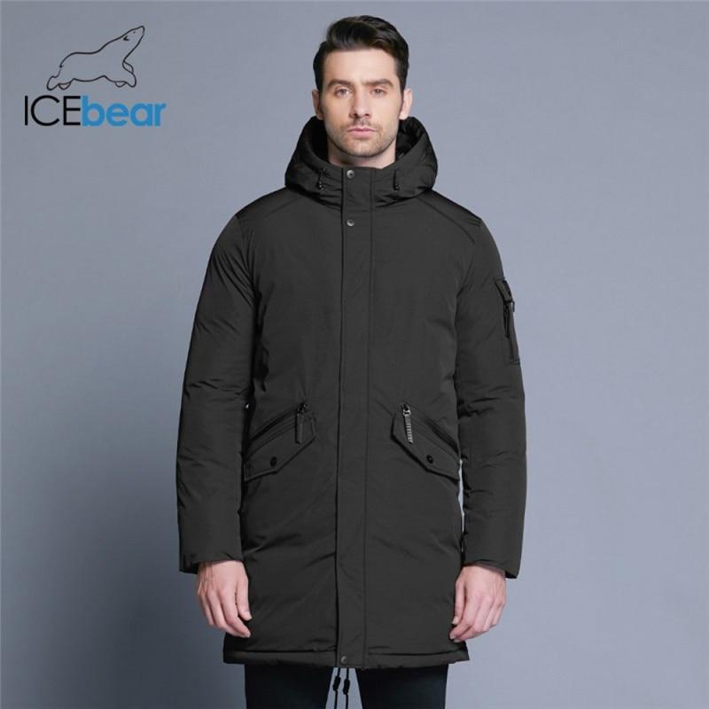 معطف شتاء جديد 2021 من ICEbear ذو جودة عالية معطف بسيط على الموضة تصميم جيب كبير معطف رجالي دافئ بقلنسوة موضة العلامة التجارية MWD18718D