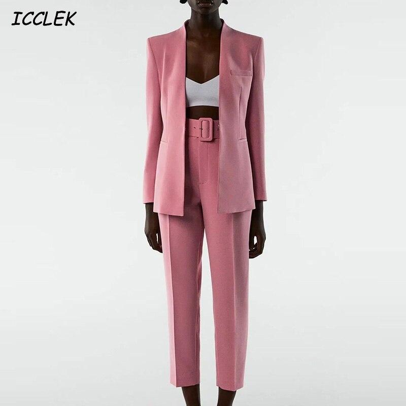 Za بنطلون بدلة نسائية ملابس عمال مجموعة Tailleur فام وردي كم طويل جاكيتات نسائية معاطف مكتب السيدات أنيقة أنيقة