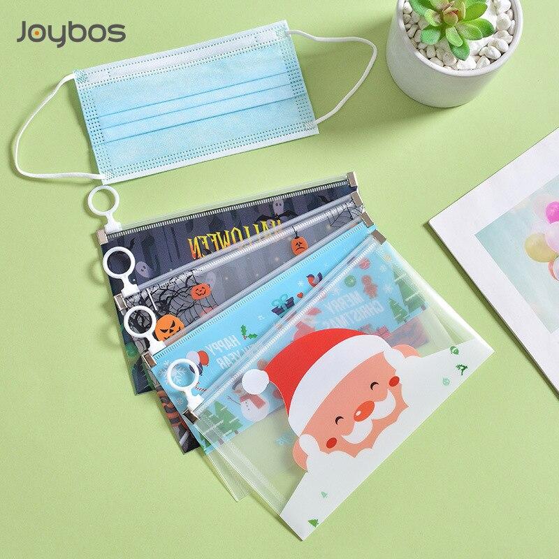 JOYBOS Christmas Mask Storage Bag Folder Halloween Portable Zipper Type Mask Folder PP Waterproof Fi