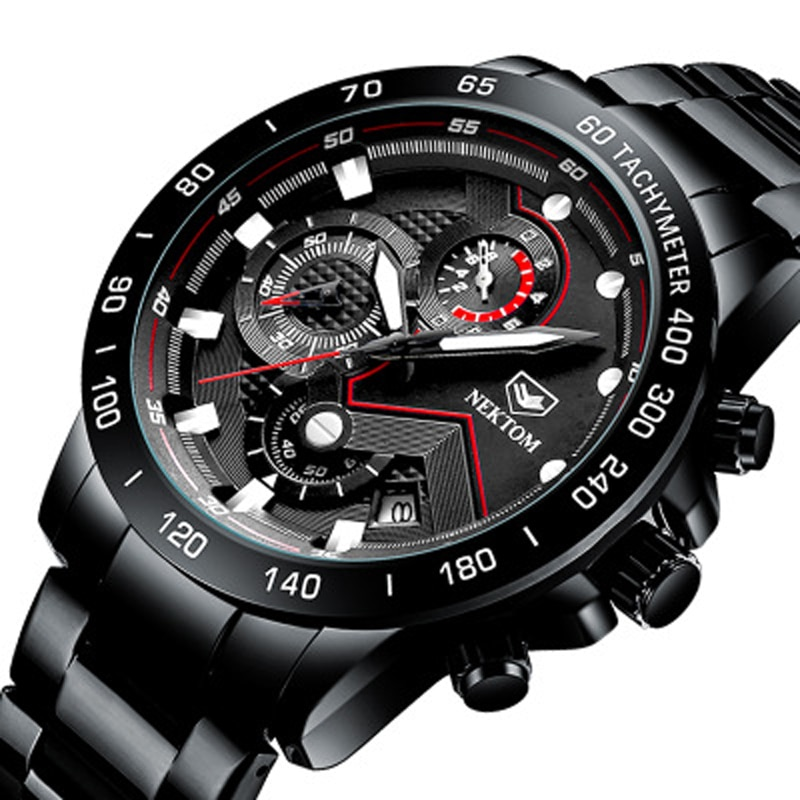 2021 New Fashion Mens Watches with Stainless Steel Top Brand Luxury Sports Chronograph Quarz Watch Men Relogio Masculino