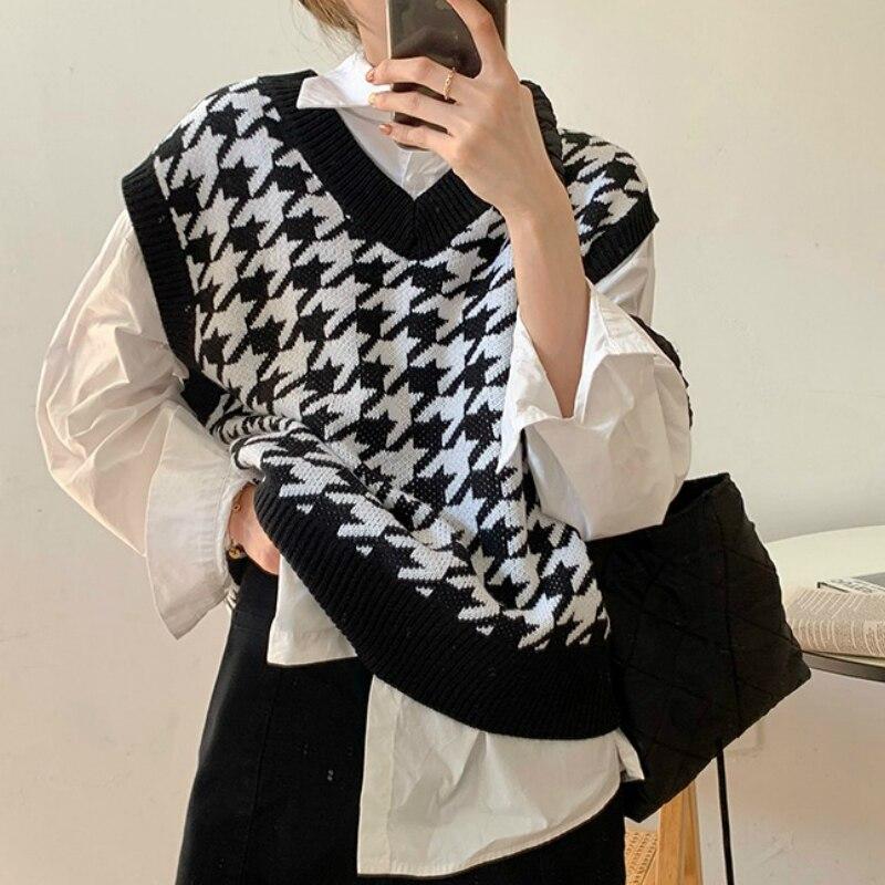 Houndstooth Vest Women's Knitted Vest 2020 New Autumn Loose Korean Outdoor Sweater Waistcoat