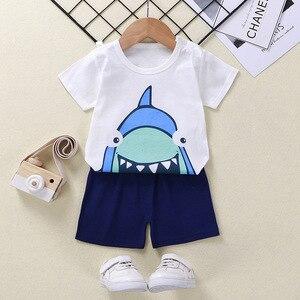 2021 Summer Baby Children Cotton Soft Shorts Suit T-shirt Boy Girl kids dinosaur cartoon infant clothes Set T-shit+Pants for 0-6