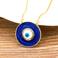 new fashion copper cz necklace 4 colors choice classic round shape eye pendent jewelry for women long snake chain best gift