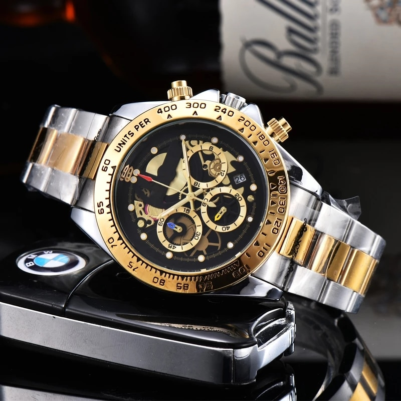 Multifunction 6-Pin Men's Watch Running Hour Gold Top Brand Luxury Male Wristwatch Sports Stainless