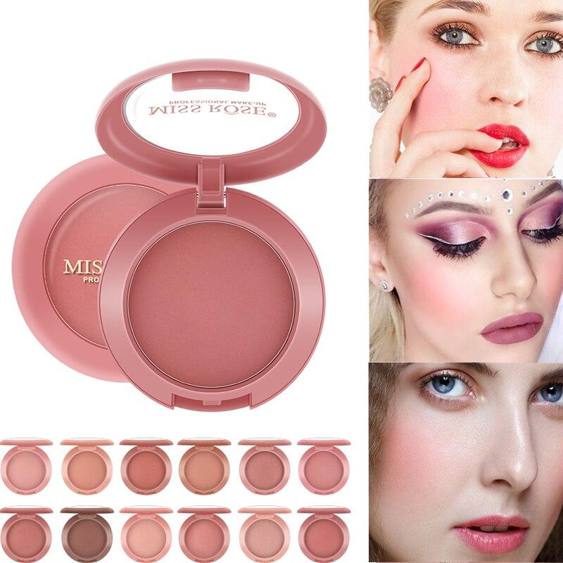 12 colores iluminan el rubor del contorno base líquida correctora de larga duración rubor en polvo suave mate maquillaje Natural de la piel