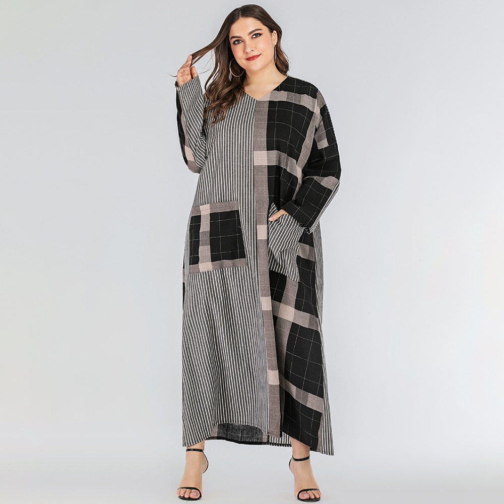 Фото - FridayIn 2021 Spring Autumn Women V-neck Pocket Striped Geometric Stitching Casual Loose Long-sleeved Ankle Dress Arab Clothing geometric spring