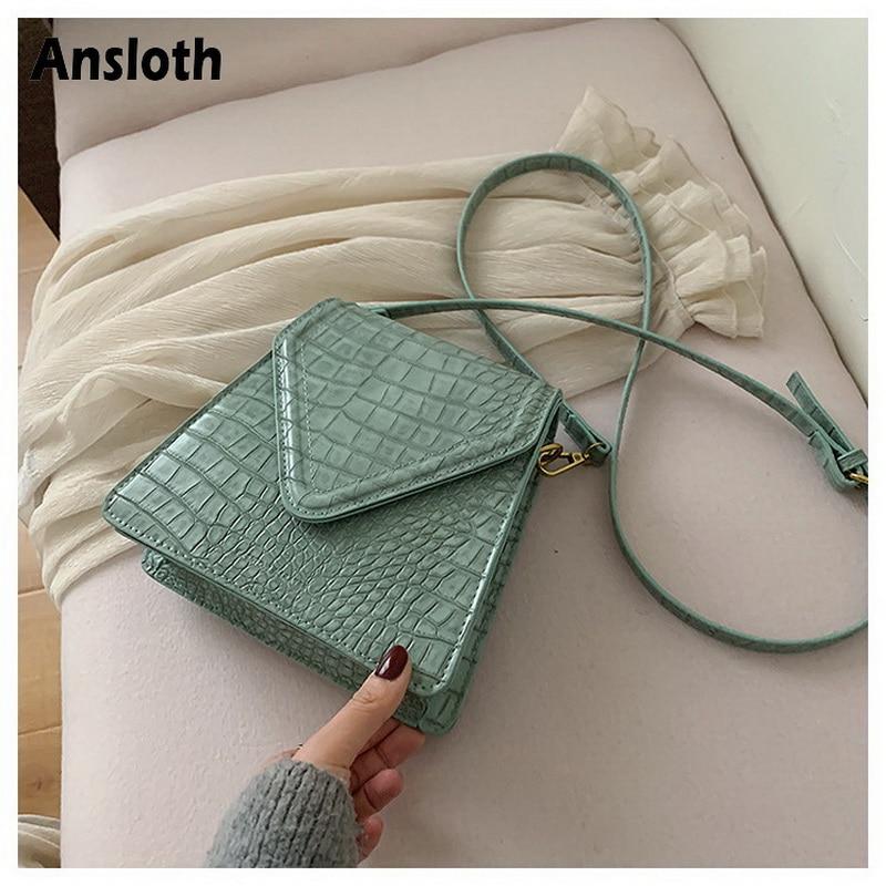 Ansloth Fashion Stone Pattern Female Bags For Women Shoulder Bag PU Leather lady Bags Crocodile Crossbody Bags Retro bags HPS864