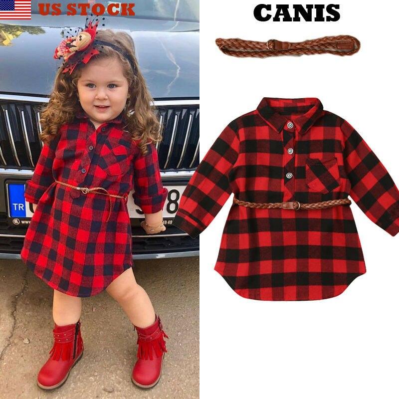 2Pcs Plaid Toddler Kids Baby Girl Outfit Clothes T Shirt Top Dress+Belt Set