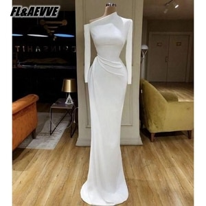 Real Picture White Long Sleeves Evening Dress 2021 Mermaid Floor Length Evening Prom Party Gowns for Women