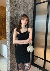 2021 Summer Feminine Temperament Slim  Shoulder Dress with Small Black  Strap