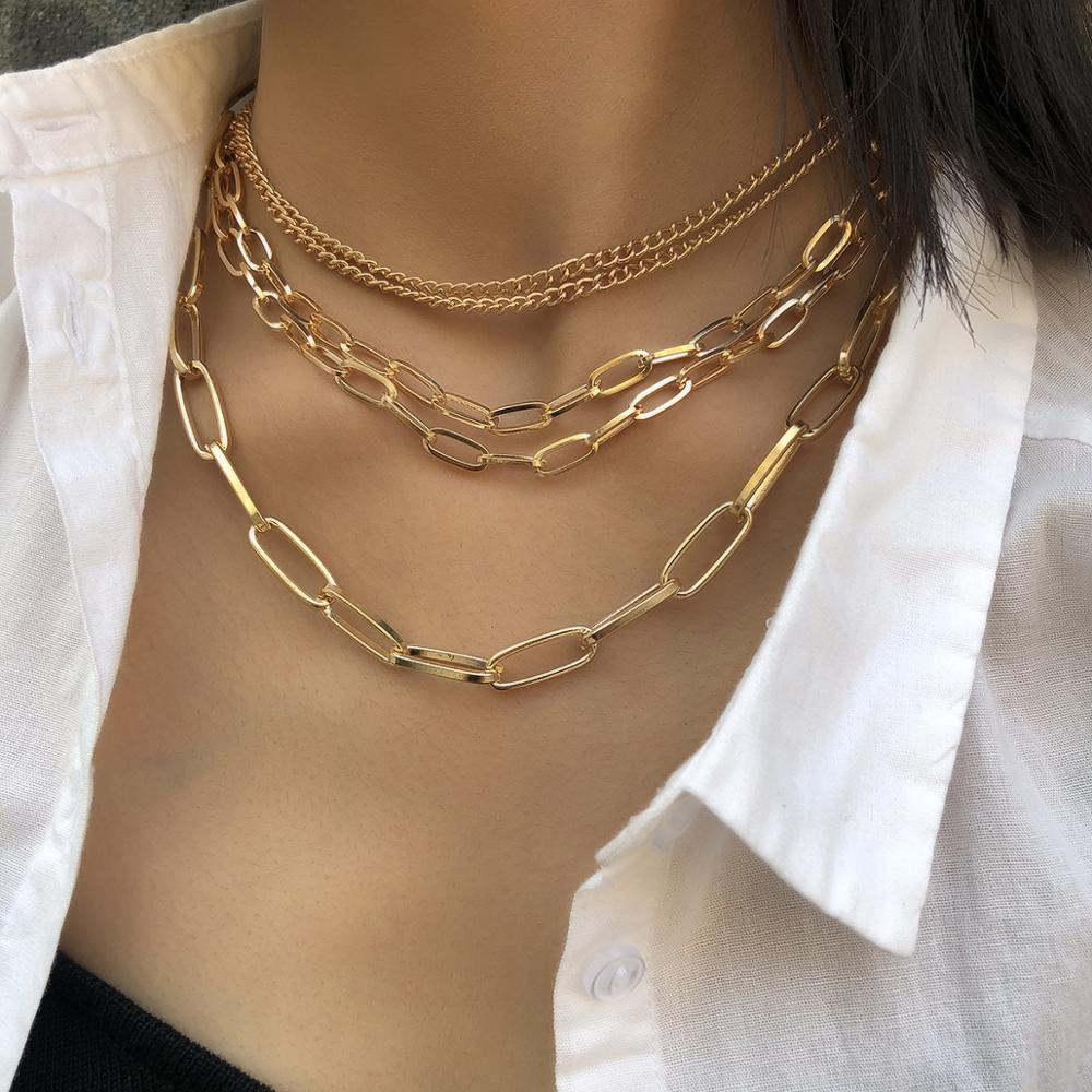 Kmvexo 2019 moda ouro multicamadas bloqueio cadeias colar de afirmação do vintage corrente curta punk na moda gargantilha colares para mulher