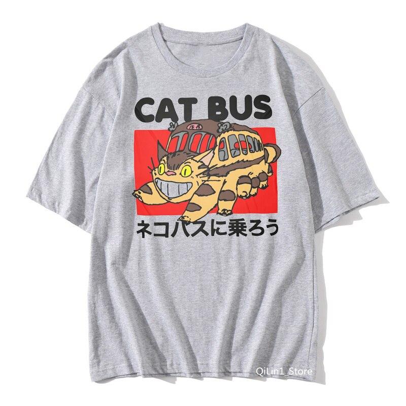 2020 gran oferta totoro Spirit Away Camiseta con estampado de dibujos animados gato autobús gráfico Camisetas Mujer ropa divertida gris sólido camiseta unisex