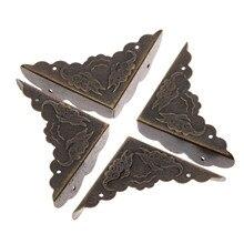 Boîte à bijoux en bois Bronze Antique de 12 pièces   Support de coins décoratifs, livre métallique pour Albums et Menus, protecteurs de coins pour dossiers