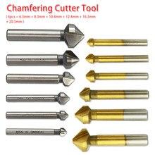 Fraise 6 pièces/1 pièces 3 cannelure 90 degrés poignée ronde HSS bois acier chanfrein Cutter 6.3-20.5mm pour acier au carbone/PVC