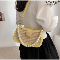 casual straw ladies armpit bag with pearl chain female small subaxillary bags clutch moon shaped women handbag female totes 2021