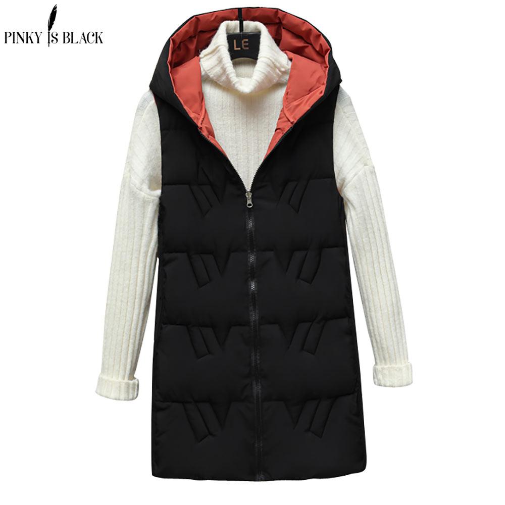 PinkyIsBlack 2021 الخريف الشتاء الدافئة سترة معطف المرأة رشاقته الجانبين ارتداء صدرية طويلة القطن مبطن صدرية الشتاء النساء
