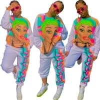 winter colorful character cartoon print street casual tracksuit women active jogger suit lounge wear sports clubwear