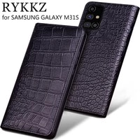 luxury genuine flip leather case for samsung galaxy m31s flip cover handmake leather cases for samsung galaxy m31s case