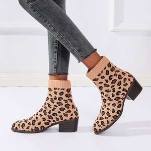 Women's Boots 2021 Leopard Print Fashion Boots Spring and Autumn Winter Short Heel Fabric Leisure Boots for Women Comfortable