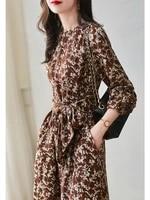 french light luxury high end celebrity print dress 2021 autumn new bow tie broken flower long sleeve tea break skirt