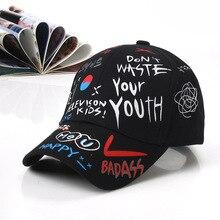 New Women's Graffiti Print Baseball Cap For Men Girls Boy Fashion Black Summer Snapback Hip Hop Caps