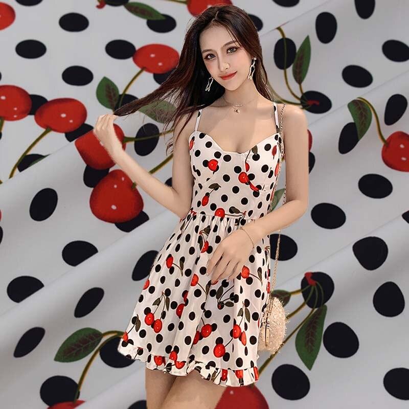 Tejido de algodón elástico con punta de cereza negra ondulada para Vestido de satén, accesorios para vestido, telas