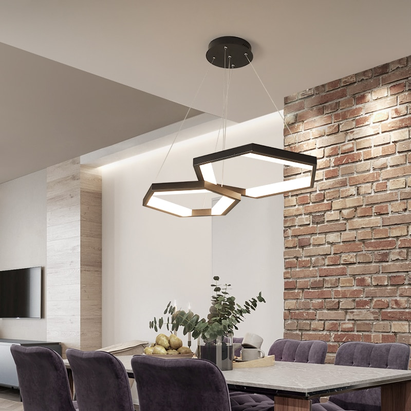 RC Dimmable LED Ceiling Chandelier Modern Fixtures Kitchen Lights For Dining Living Room Decor Lamps With Remote Control