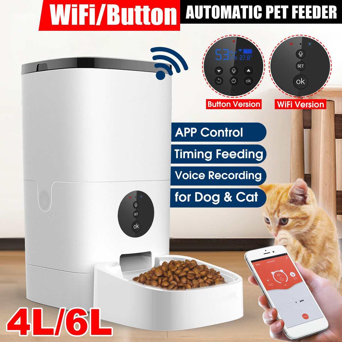 [فيديو/واي فاي/زر الإصدار] 4L/6L جهاز التزويد الآلي بطعام الحيوان الأليف الذكية القط الكلب الغذاء موزع التحكم عن بعد APP الموقت