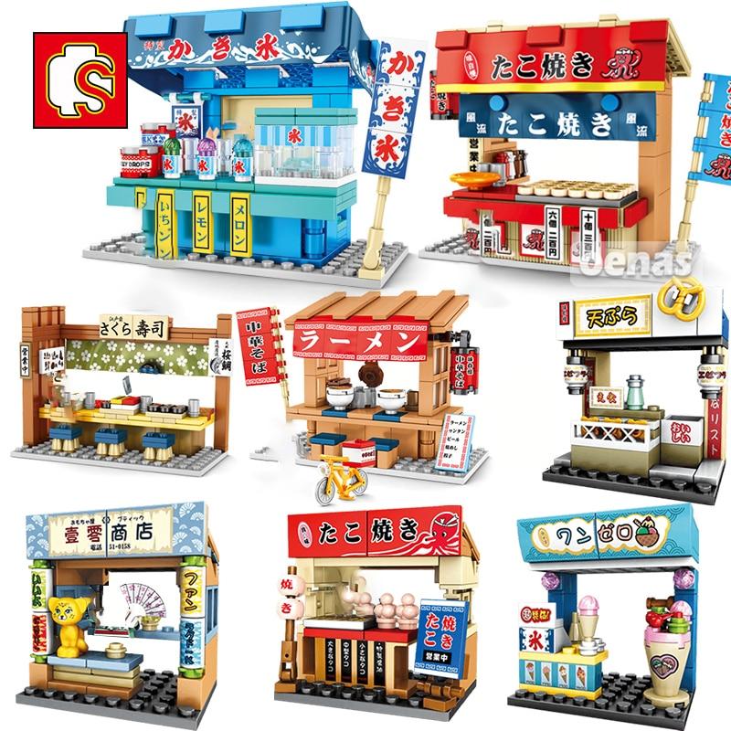 SEMBO-كشك هاتف ذو منظر الشارع الياباني في مدينة ساكورا ، لعبة سوشي ، متجر ، مكعبات بناء ، هدية للأطفال ، نموذج تعليمي