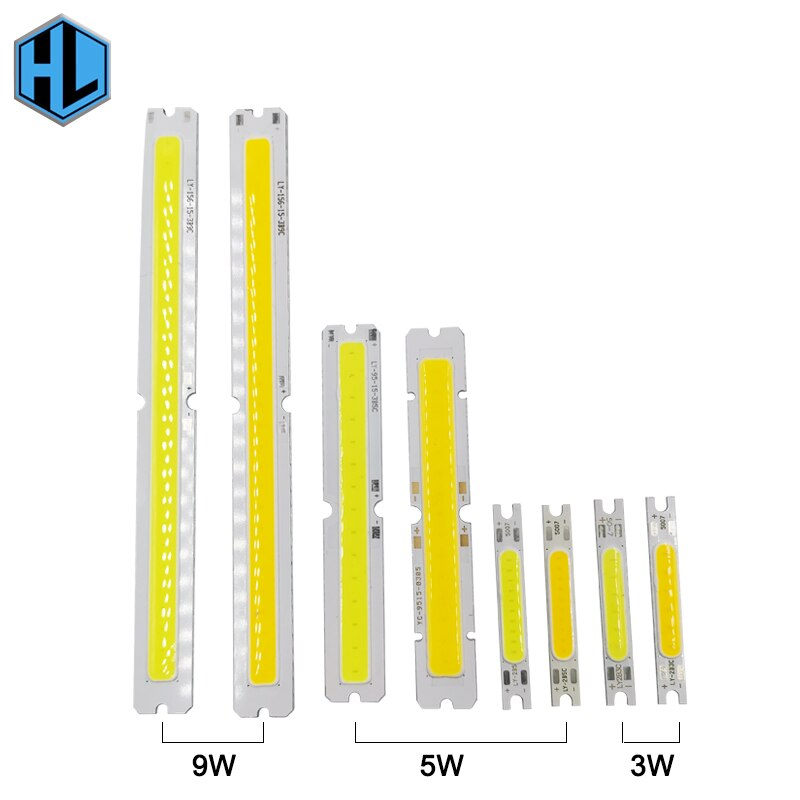 10 Uds 3-9W LED cob chip mazorca fuente de luz tira dura bombilla 50mm, 80mm, 140mm de altura fría brillante blanco cálido lámpara tubo de iluminación LED