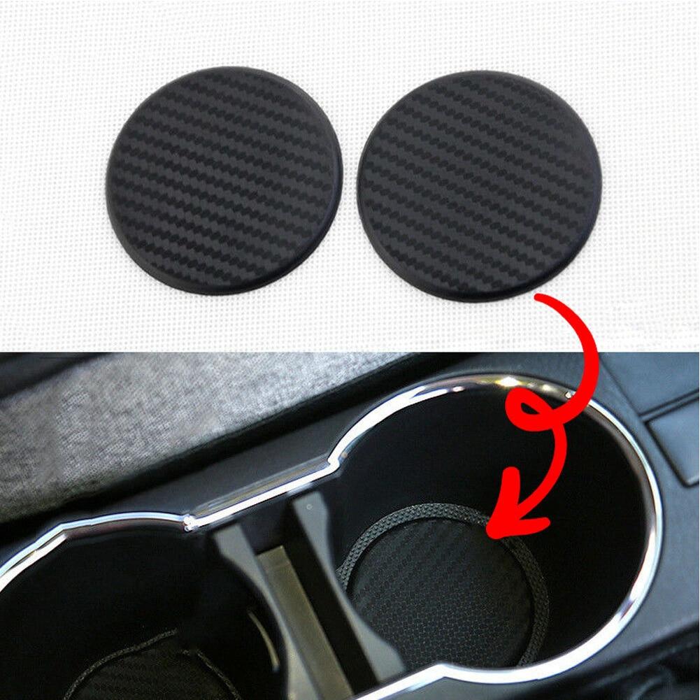 2 uds accesorios de coche redondos ranura para tazas de agua antideslizante práctico aspecto negro alfombra lavable Auto Anti polvo silicona Interior de protección