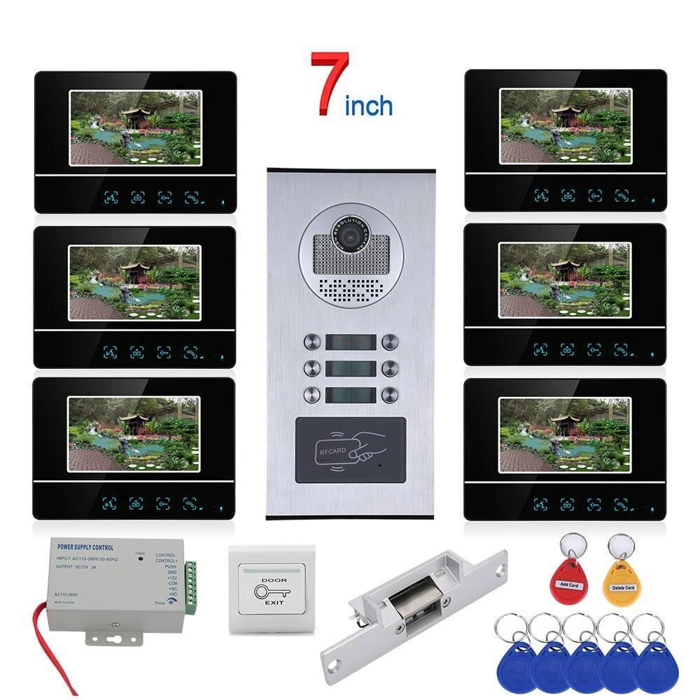 7 بوصة تعمل باللمس زر 6 شقة فيديو باب الهاتف نظام اتصال داخلي تتفاعل 1000TVL جرس الباب كاميرا لا قفل الباب الكهربائية