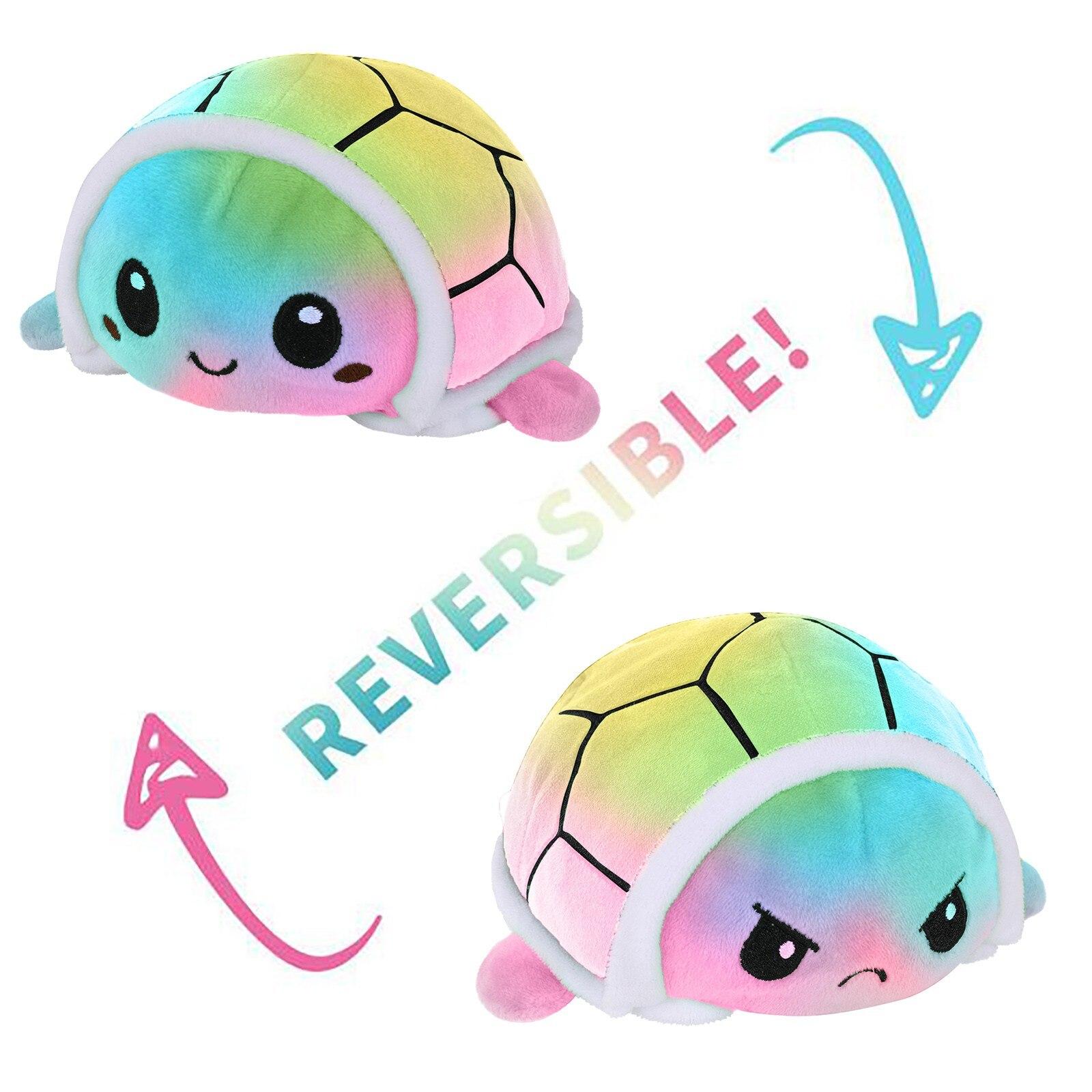 Hot Sale Double Sided Reversible Turtle Kids Plushie Plush Animals Double-Sided Flip Tortoise Plush