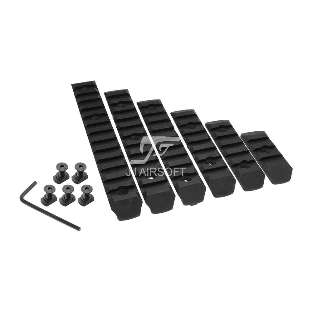 Set de rieles de polímero de 6 piezas (negro/tostado) de S-LOT, ranura para 3/5 ranuras/7 ranuras/9 ranuras/11/13 ranuras M-LOK