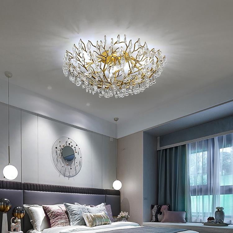 مصباح سقف كريستالي ، مصباح سقف دائري من الألومنيوم مع فرع شجرة ، مثالي لغرفة المعيشة أو غرفة النوم أو المكتب أو الفندق.
