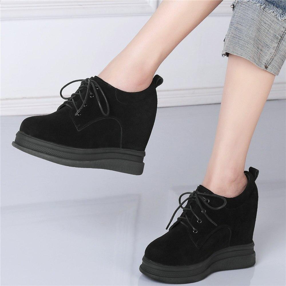Oxfords-حذاء نسائي من الجلد الطبيعي بكعب عالٍ مع منصة وإصبع دائري ، حذاء كاجوال عصري ، أسود