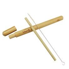 Ensemble de voyage paille de bambou naturel   Paille de bambou naturelle pailles de chanvre de sisal brosse de nettoyage avec étui de transport de tube de paille en bambou biologique