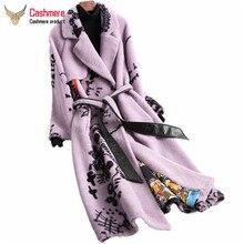Luxe nouveau 2019 automne hiver réel mouton laine manteaux de fourrure dames imprimé mouton cisaillement longues vestes chaudes