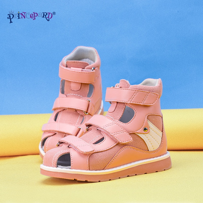 Princepard Denim Summer Breathable Closed Toe Sandals Children Orthopedic Shoes with High Back for Clubfoot Ankle Support Care enlarge