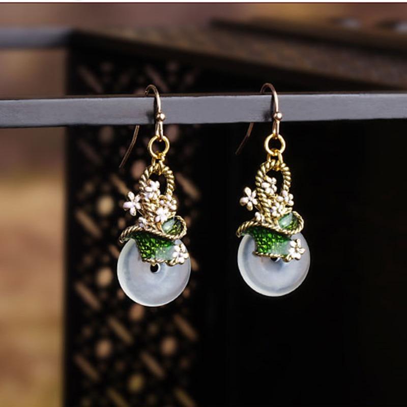 Pendientes de botón de la paz Vintage cesta fresca de flor Cloisonne estilo nacional oreja gota pendientes antiguos