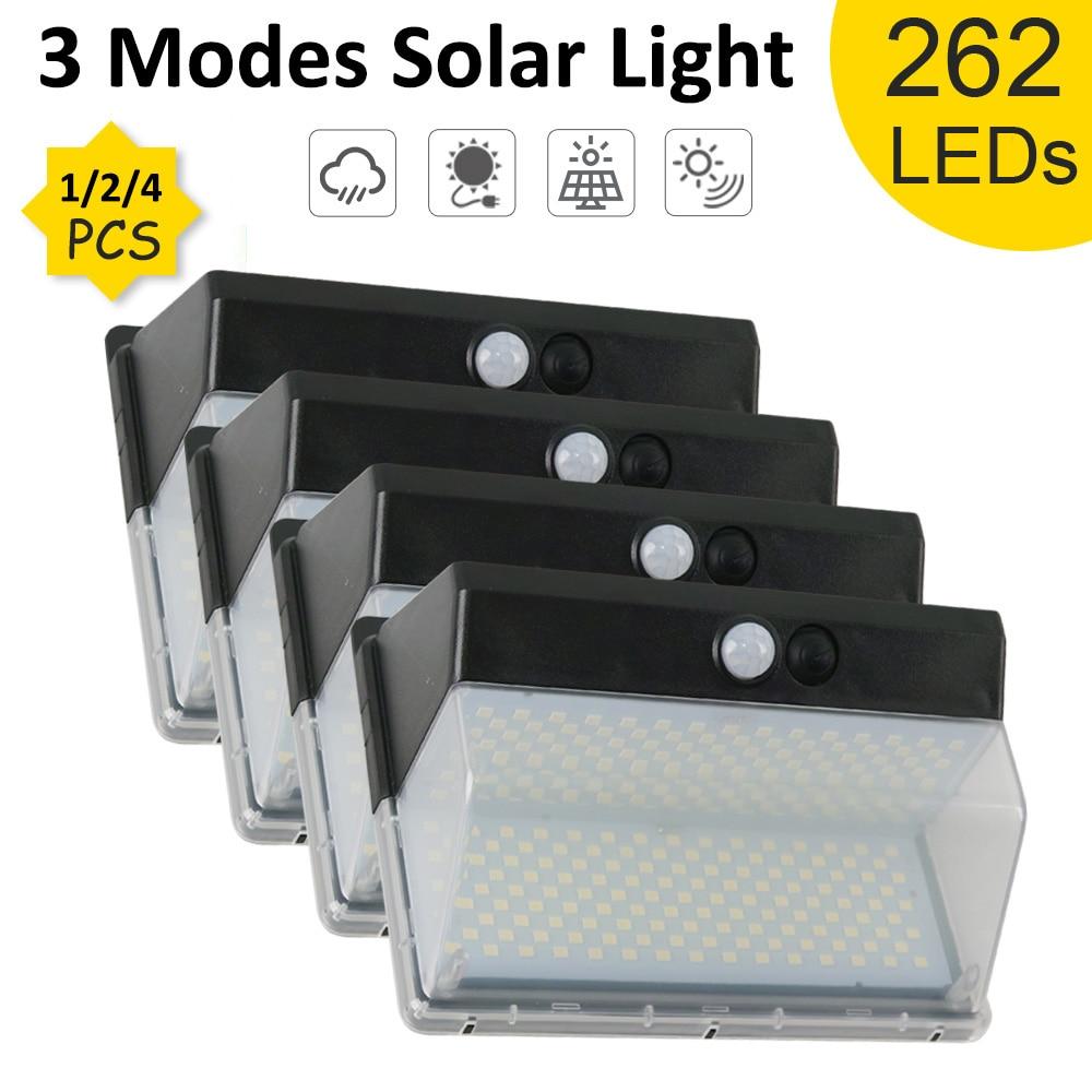 172/262 LEDs Solar Wall Light PIR Motion Sensor Outdoor Lamp Waterproof Powered Sunlight for Garden Decoration