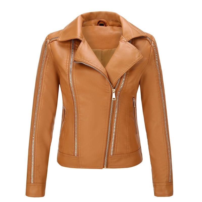 Женская кожаная куртка SWYIVY, мотоциклетная куртка из искусственной кожи, женская короткая приталенная куртка, Женская куртка, chaqueta mujer