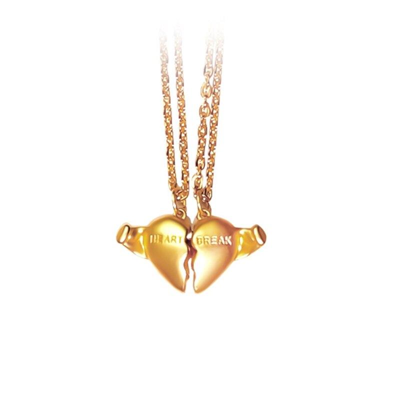 1 par creativo corazón romper collar amistad pareja colgante collares Corazón Roto gargantilla para hombres mujeres amantes BFF joyería regalo