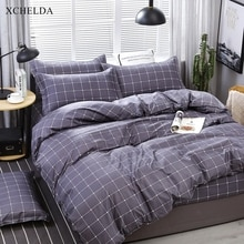 Bedding set Family Double Queen King Cute Navy Blue Grid Bedspread adult Single Bed sheet Pillowcase 4pcs Cotton Duvet Cover set