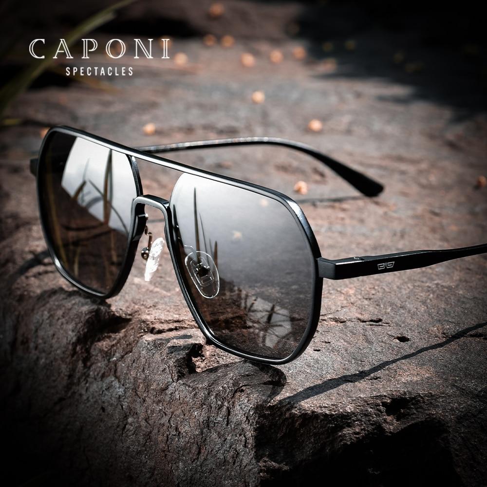 CAPONI Myopia Polarized Sunglasses For Men Classic Square Aluminum Sun Glasses High Quality Prescrip