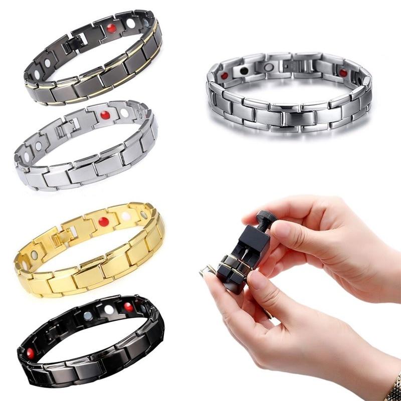 Removable Unisex Magnetic Titanium Steel Health Energy Bracelet Solid Color health care Bracelet rel