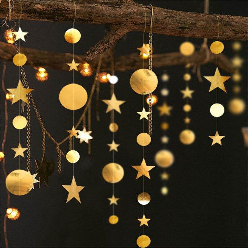 2020 navidad decorações de natal para casa 4m cintilação estrela floco de neve guirlandas de papel decoração de ano novo noel 2021 ornamentos kerst-s