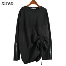 XITAO Splice Pleated Plus Size T Shirt Women Harajuku Zipper Long Sleeve Top Women Leisure Tshirt Fashion Autumn New  WLD2857