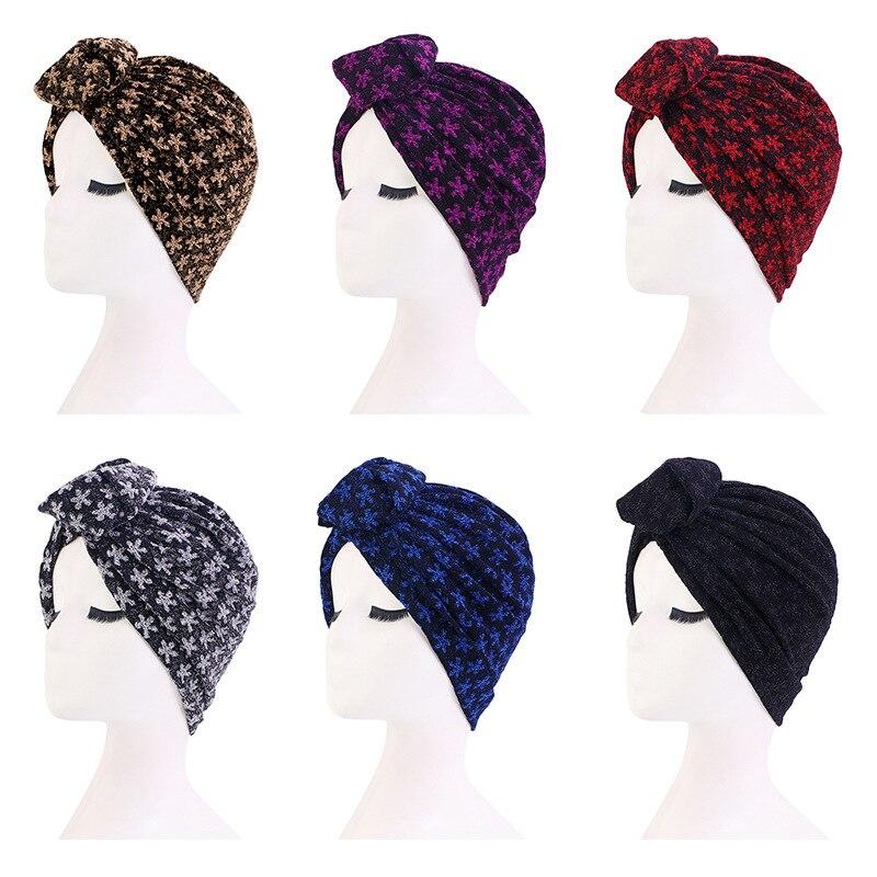 Popular Retro Turban Hat African Handmade Swirl Flower Bohemia Fashion Solid Color Bright Skein Ball Caps For Women